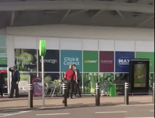 man arrested on suspicion of two assaults and racially aggravated public order at asda