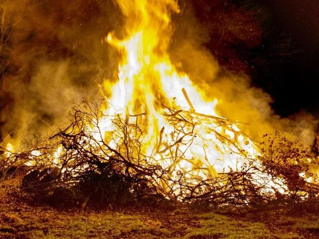 out of control bonfire sparks fire service attendant in langley