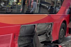 Two arrested after vehicle makes off from Police hitting a bus