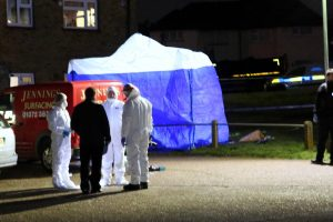 a murder investigation has been launched after a man was brutally stabbed to death on the doorstep of his own home in kent