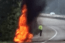 m20 motorway was closed after a car on fire between junction 8 and 9