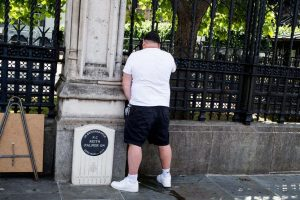 arrest after man appears to urinate on pc palmer memorial