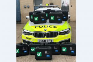 roads policing officers place defibrillators in vehicles to help save lives in essex