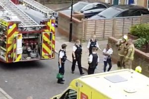 big crane crushes two properties in tower hamlets area