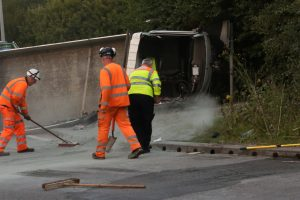 driver extricated after tipper rolls over on a249 stockbury roundabout 5