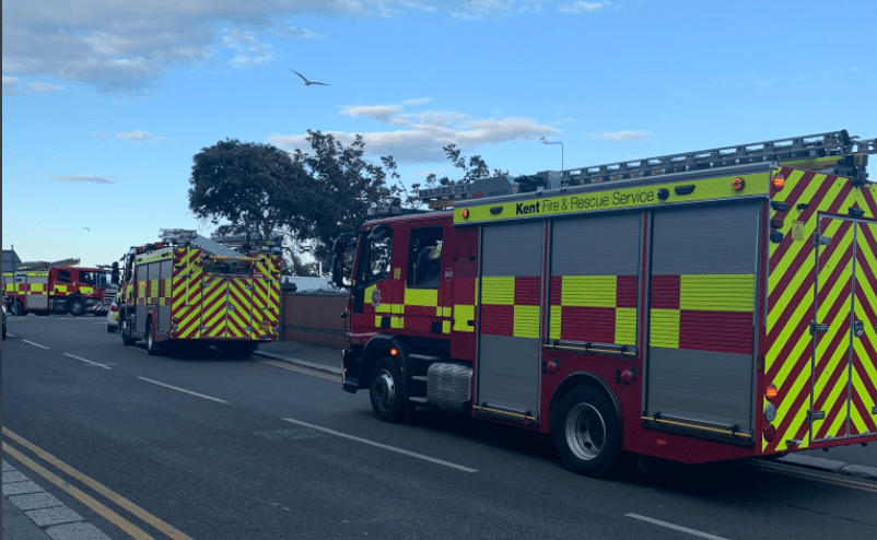 eight fire crews called incident at the grand parade hotel in folkestone