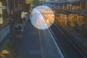harrowing footage has revealed the moment a teenager was rescued after trespassing on a railway 2
