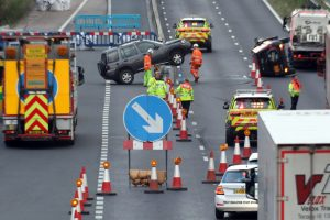 near double rollover on the m20 caused traffic jam back to channel tunnel