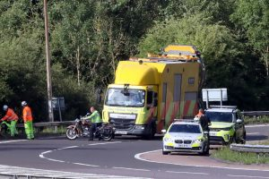 two people taken to hospital after motorbike collision on m25 a21