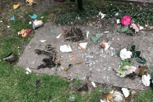 witnesses are sought after headstones and ornaments were destroyed in a ramsgate memorial garden