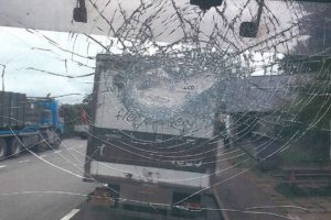 a lorry driver narrowly escaped injury after rocks are thrown on the a249 near sittingbourne