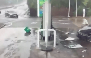 shocking footage show the moment a mercedes on the a20 swanley by pass and crashing into a petrol pump