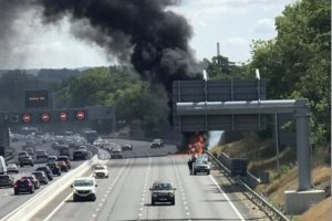 traffic updates as motorway shuts due to vehicle fire on the m20 in kent