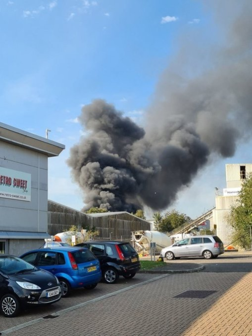 30 fire fighters have been sent to a blaze on an ashford industrial estate