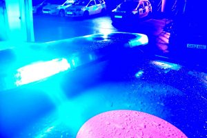 a suspect is being sought after a police officer was struck by a car near blue bell hill villag