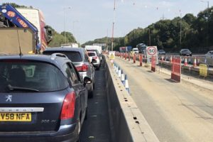 severe delays on the a2 in kent due to a collision leaving an 8 mile traffic jam