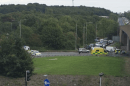 a20 in sidcup closed at critalls corner after the man has fallen from the bridge
