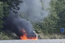 car turns into fire ball on the m20 in kent as all traffic is held