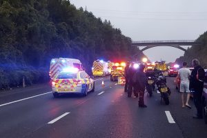 M25 In Kent remains closed following Serious collision involving a crane