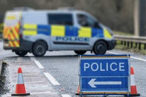 road closed in tonbridge after tractor and dung trailer has crashed into a tree