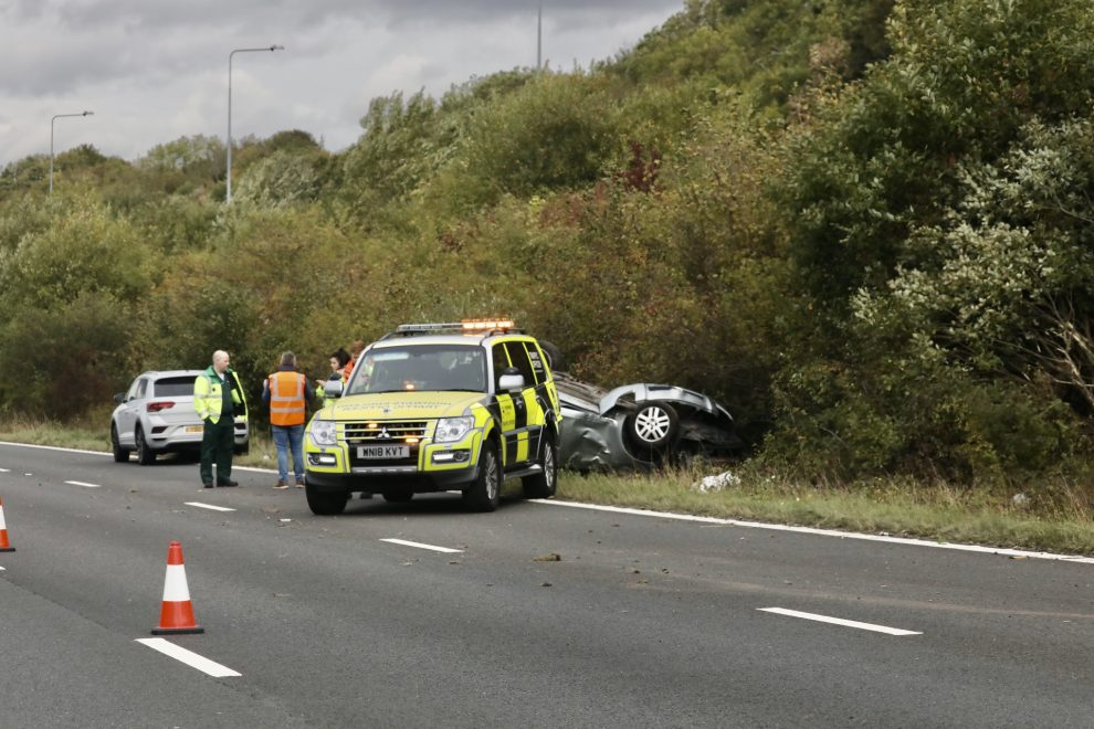 roll over closed two lanes on the m2 in kent