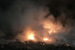 the fire is now out and crews are dampening down any remaining hot spots after a blaze in hoo