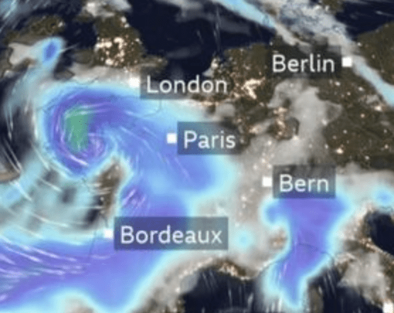 a yellow warning is in force as the south is about to take a battering
