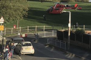 an air ambulance team accompanied the injured man to hospitial