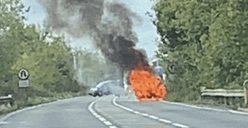 emergency services have bene called to a car ablaze on the a2 near lydden lights