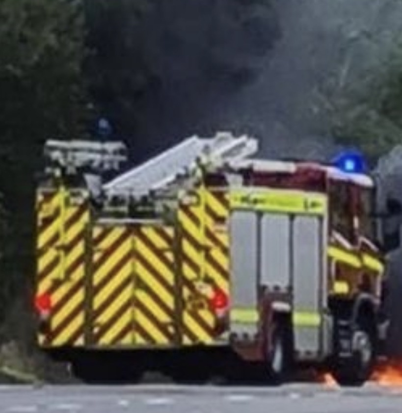 m20 motorway in kent currently closed due to trailer ablaze