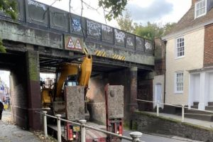 no trains are running after a low loader hits bridge in canterbury
