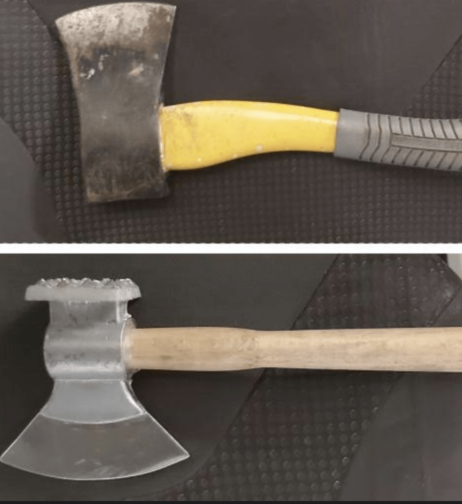 officers patrolling the west malling area have seized axes and a crowbar and arrested a suspected burglar