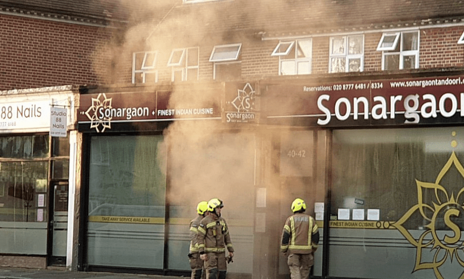 six fire engines and around 40 firefighters have been called to a tandoori restaurant on fire