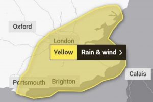 the met office has issued a rain and wind warning for southeast england on saturday