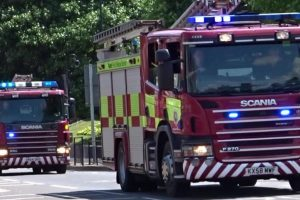 kent fire and rescue service was called to reports of a chimney fire on elbridge hill near canterbury