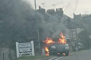 Driver rams speed camera  then sets car on fire following a collision near Swanley